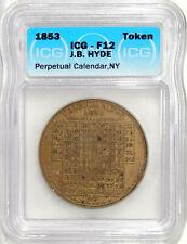 1853 PERPETUAL CALENDAR MEDAL J.B. HYDE, 162 FULTON ST., NEW YORK