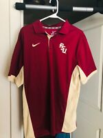 Nike Florida State Seminoles Polo Shirt Adult Large Red Gold Dri Fit FSU Men 90s
