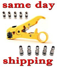 Coaxial Cable Stripping Tool RG6 RG11 RG59 RG7 Wire Cutter Stripper + connectors