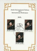 Belgium 1977 Celebrating Rubens Anniversary Slogan Cancel Stamps Sheet Ref 23847