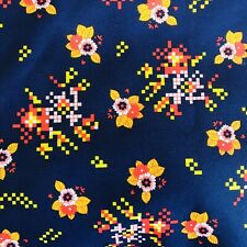 Vtg New Fabric Nylon Floral Red Yellow Navy 60s 70s 192cm x 72cm Sewing Crafting