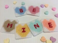 """Handmade Plastic Canvas Needlepoint Valentine Magnets Candy Hearts """"Be Mine�"""