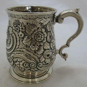 Superb Antique Georgian Sterling silver embossed mug, 1739, 241g, JJ