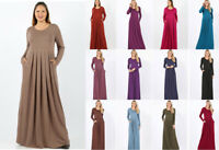 Women's Plus Soft Knit Fit & Flare Full Maxi Dress Long Sleeve Solids Pockets
