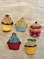 Christmas Cupcake With Touch of Glitter - 5 - Iron-On Fabric Appliques.
