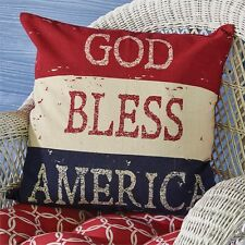 """GOD BLESS AMERICA PILLOW : 20"""" sq RED PATRIOTIC FLAG TOSS ACCENT CUSHION"""