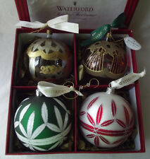 """FABULOUS WATERFORD 2000-2001 BOXED SET OF 4 BLOWN GLASS CHRISTMAS ORNAMENTS 4""""D"""