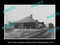 OLD HISTORIC PHOTO OF EAST NICOLAUS CALIFORNIA, ELECTRIC RAILROAD DEPOT c1935