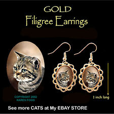 Tabby American Shorthair Striped Cat - Gold Filigree Earrings Jewelry