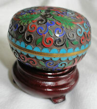 Antique Asian Cloisonne Over Copper With Enamel Champleve Trinket Box On Stand