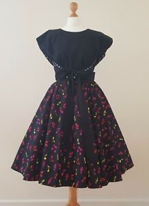 1950s Vintage Top Blouse Size 10-18 Reversible Plain Polka Dot Rockabilly Tie