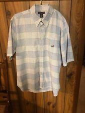Ivy Crew Mens Size XL Blue Plaid Short Sleeve Button Down Dress Shirt
