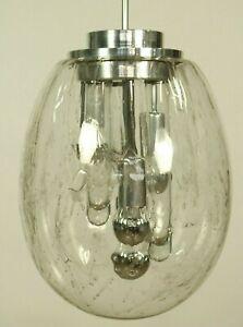 Magnific Doria Pendant Lamp Volcano Glass Egg Shade Glass Icicles 1960s