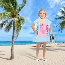 Children Kids Boys Girls Hooded Poncho Swim Beach Bath Towel Bathrobe Cartoon