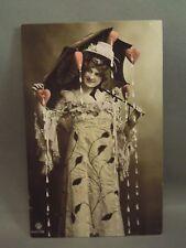 Antique 1908 Risque Pin Up Girl Woman W/ Heart Umbrella Colorized Postcard