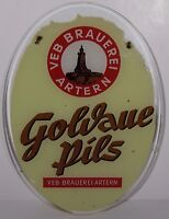 RARE Vintage VEB BRAUEREI ARTERN German Beer Germany Advertising Sign GLASS OVAL