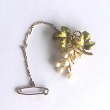 Victorian 14ct Yellow Gold Natural Pearl and Enamel Ivy Leaf Brooch