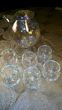 Opalescent glass decanter with 6 glasses stunning scallopped pattern