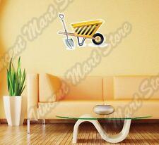 "Shovel Wheelbarrow Construction Build Wall Sticker Room Interior Decor 25""X18"""