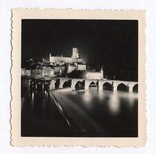PHOTO ANCIENNE Éclairage de nuit Jeu de lumière Vers 1950 Fleuve Paysage