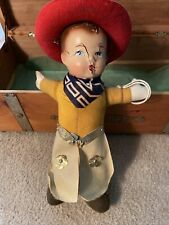 Antique 1900s Composition RideEm Cowboy Doll Buddy Lee Chaps Ten Gallon Red Hat