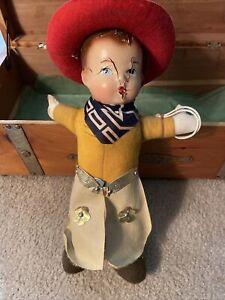 Antique 1900s Composition RideEm Cowboy Doll Gun Chaps Ten Gallon Red Hat