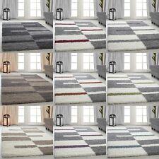 Hochflor Shaggy Teppiche gestreift Grau Grün Rot Beige wohnzimmer Teppiche NEU