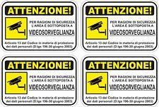 KIT 4 ADESIVI ADESIVO CARTELLO 10X15 AREA  VIDEOSORVEGLIATA ATTENZIONE COD149