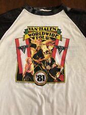 Vtg Van Halen 1981 Tour Shirt Raglan Jersey Eddie David Lee Roth Metal Rock Orig