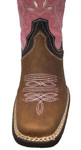 Women's Western Square Toe Cowgirl Boot Brown Bota De Dama Vaquera Sz 5-10 CR950