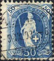 SUISSE / SWITZERLAND / SCHWEIZ - Mi.62C 50c blue p.11-1/2x11 - used ZÜRICH 1903