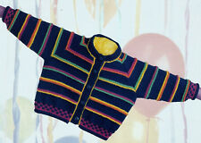 "Baby/toddler colourful striped cardigan knitting pattern 16""-22"" DK187"