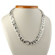 Handcrafted 925 Sterling Silver Mens Figaro Chain Necklaces 52Gr 8mm 20Inch