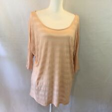 Forever 21 Large Peach Semi Sheer Striped Short Bat Sleeve Tunic Women Tops410