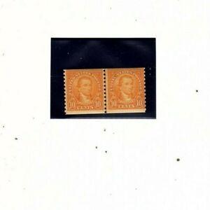 US stamp 603 10c Monroe Mint Line Pair VF-XF OG NH  (orange