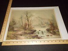 Rare Antique Original VTG 1893 Tranquil Waterfall Scene Hoover Litho Art Print
