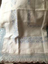 Vintage Irish White Linen Square Table Cloth Blue Embroidery Crochet Edging (d)