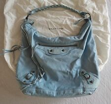 ~ AUTHENTIC BALENCIAGA SKY BLUE LEATHER ARENA STUD HOBO BAG (TRES COOL!) ~