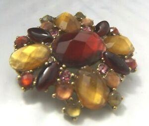 Liz Claiborne Vintage Costume Brooch Pin Multicolor Lucite Rhinestone Gold tone