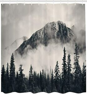 Majestic Foggy Mountain Gray Hues Nature Landscape Fabric Shower Curtain