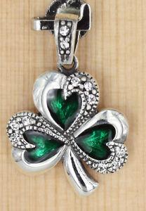 Anhänger Silber  Emaille - Zirkonia  Keltische Kleeblatt Klee Glücksbringer M-18