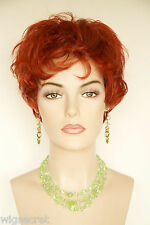 Henna Red Red Short Wavy Curly Wigs