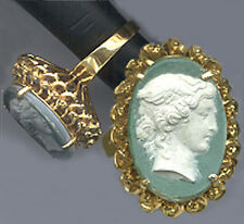 CAMEO from Geo.Tassie Intaglio:Greek Women White on Green.22k GF VERM.7 1/4 RING