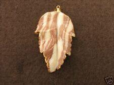 "2"" Natural Semi Precious Stone Leaf Pendant 24K Gold 11"