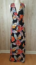 New Look Black Floral Summer Maxi Dress Size 8 BB22