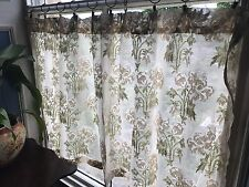 "Sage Green Flora antique Cream long cotton Madras Lace panel curtain- 66""X 33"""