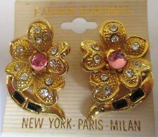 boucles d'oreilles percées bijou vintage couleur or cristal diamant fleur 202