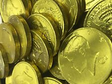 Solid Milk Chocolate Large Kennedy Gold Coins - 10 Full Pounds Bulk Wholesale