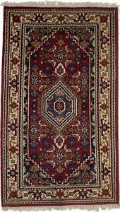 Red Floral Tribal Design Hand-Knotted 3X5 Indo-Bidjar Oriental Rug Decor Carpet