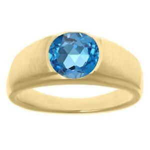 925 Sterling Silver Natural Gem Stone Blue & White Topaz Men's Ring Jewelry Us 8